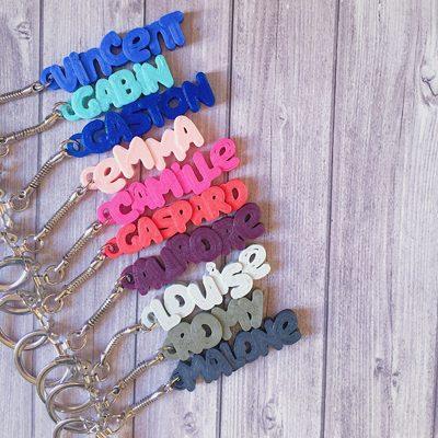 Porte-clés personnalisé prénom couleur impresion 3D cadeau enfant anniversaire quotidien customiser