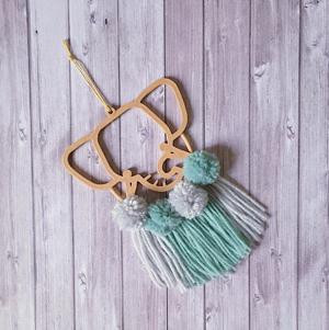 suspension personnalisation sur mesure mogcha élephant pompon laine tulle bleu impression 3D bois décoration murale chambre enfant chambre bébé